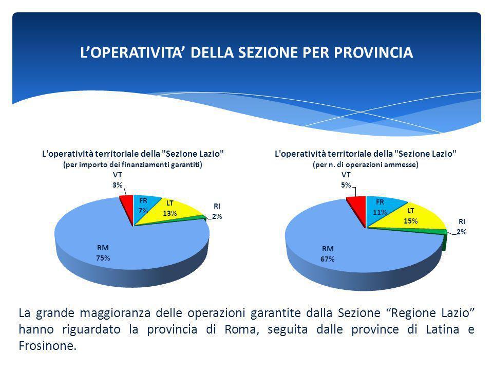"""L'OPERATIVITA' DELLA SEZIONE PER PROVINCIA La grande maggioranza delle operazioni garantite dalla Sezione """"Regione Lazio"""" hanno riguardato la provinci"""