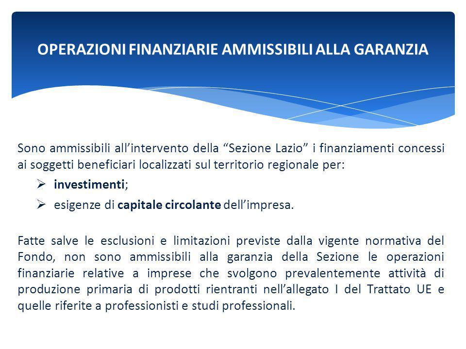 """OPERAZIONI FINANZIARIE AMMISSIBILI ALLA GARANZIA Sono ammissibili all'intervento della """"Sezione Lazio"""" i finanziamenti concessi ai soggetti beneficiar"""