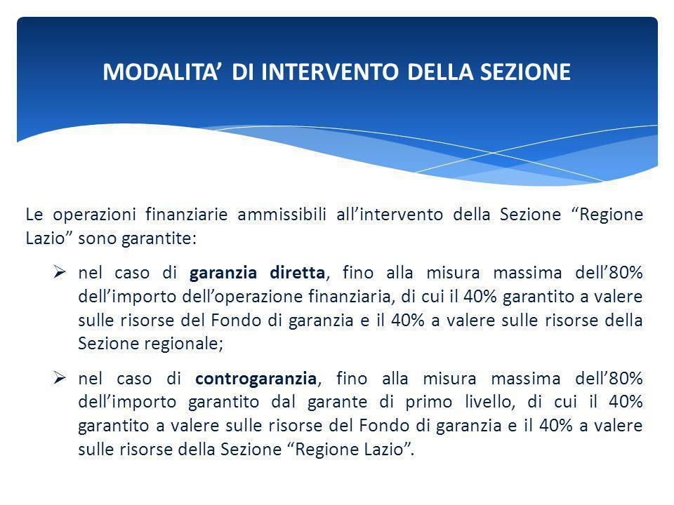 """MODALITA' DI INTERVENTO DELLA SEZIONE Le operazioni finanziarie ammissibili all'intervento della Sezione """"Regione Lazio"""" sono garantite:  nel caso di"""