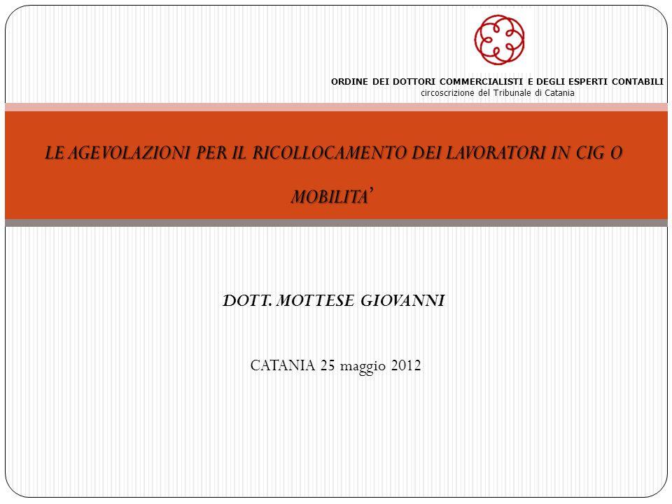 2 IVA 2011 Le agevolazioni per il ricollocamento dei lavoratori in CIG o mobilità – Dott.