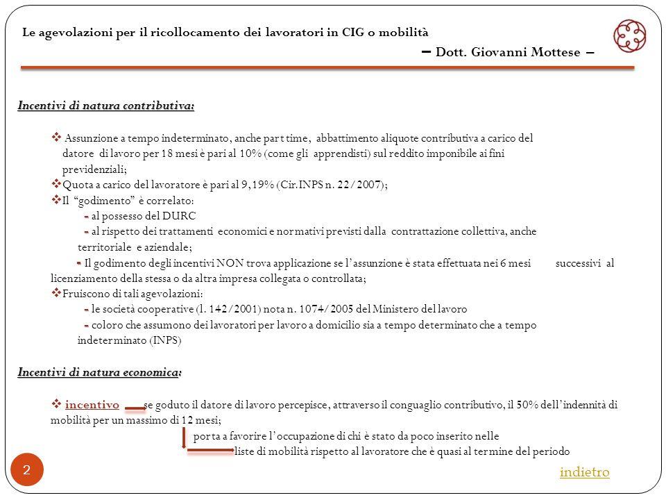 3 Le agevolazioni per il ricollocamento dei lavoratori in CIG o mobilità – Dott.
