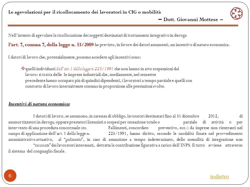 L'art.20 della legge n. 223/1991 L'art. 20 della legge n.