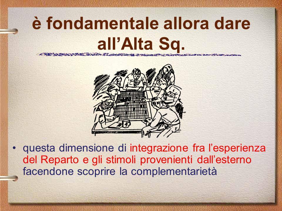 è fondamentale allora dare all'Alta Sq. questa dimensione di integrazione fra l'esperienza del Reparto e gli stimoli provenienti dall'esterno facendon