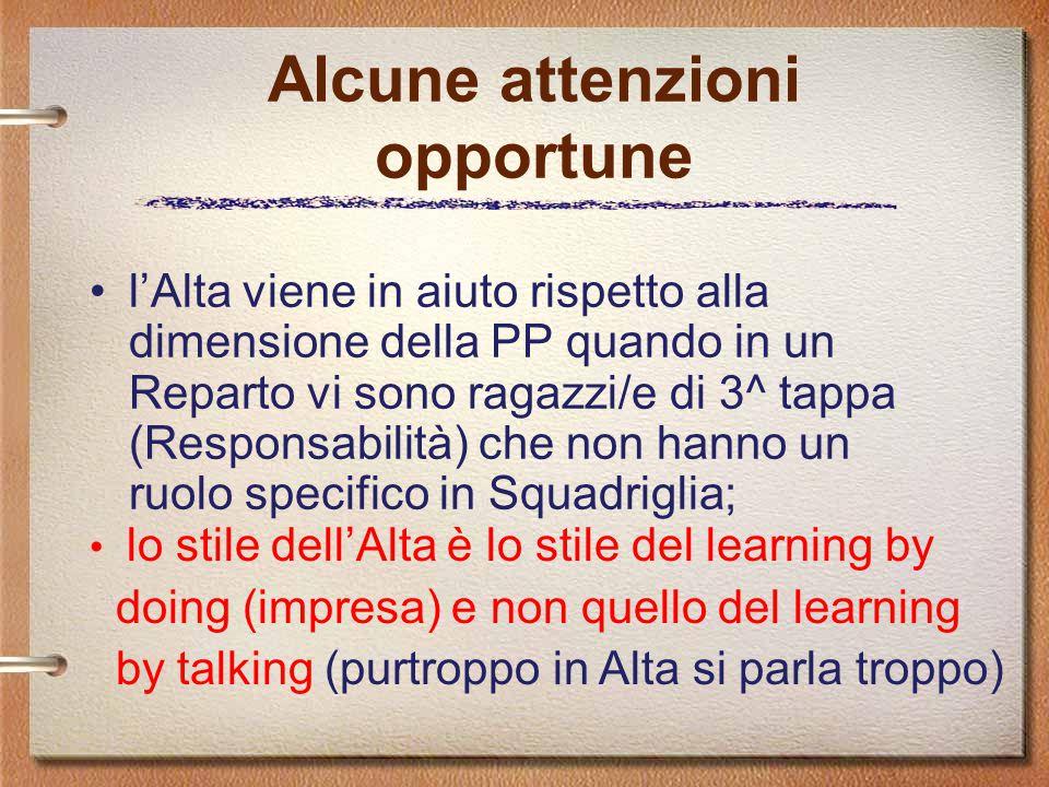 Alcune attenzioni opportune l'Alta viene in aiuto rispetto alla dimensione della PP quando in un Reparto vi sono ragazzi/e di 3^ tappa (Responsabilità) che non hanno un ruolo specifico in Squadriglia; lo stile dell'Alta è lo stile del learning by doing (impresa) e non quello del learning by talking (purtroppo in Alta si parla troppo)
