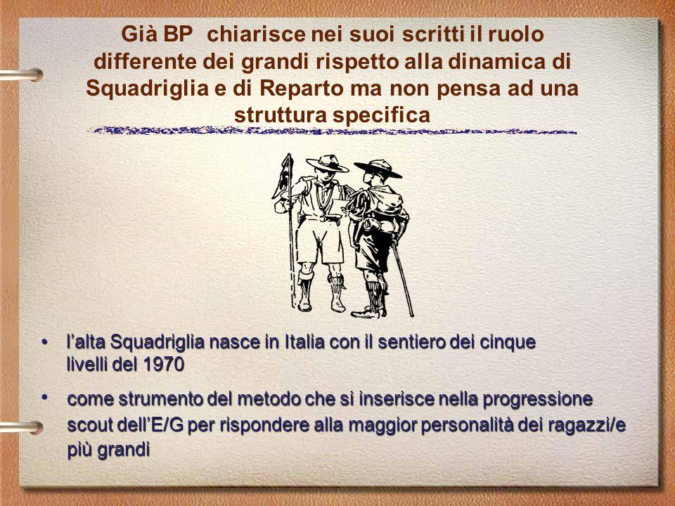 Già BP chiarisce nei suoi scritti il ruolo differente dei grandi rispetto alla dinamica di Squadriglia e di Reparto ma non pensa ad una struttura spec