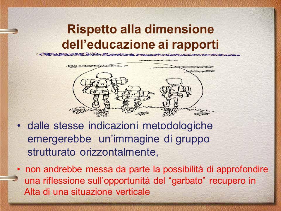Rispetto alla dimensione dell'educazione ai rapporti dalle stesse indicazioni metodologiche emergerebbe un'immagine di gruppo strutturato orizzontalmente, non andrebbe messa da parte la possibilità di approfondire una riflessione sull'opportunità del garbato recupero in Alta di una situazione verticale