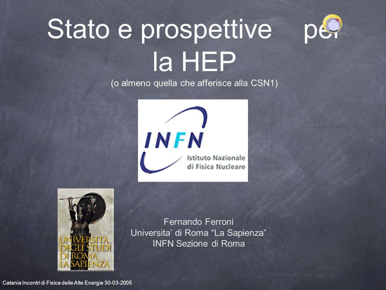 Stato e prospettive per la HEP (o almeno quella che afferisce alla CSN1) Fernando Ferroni Universita' di Roma La Sapienza INFN Sezione di Roma Catania Incontri di Fisica delle Alte Energie 30-03-2005
