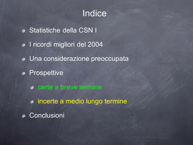 Indice Statistiche della CSN I I ricordi migliori del 2004 Una considerazione preoccupata Prospettive certe a breve termine incerte a medio lungo termine Conclusioni
