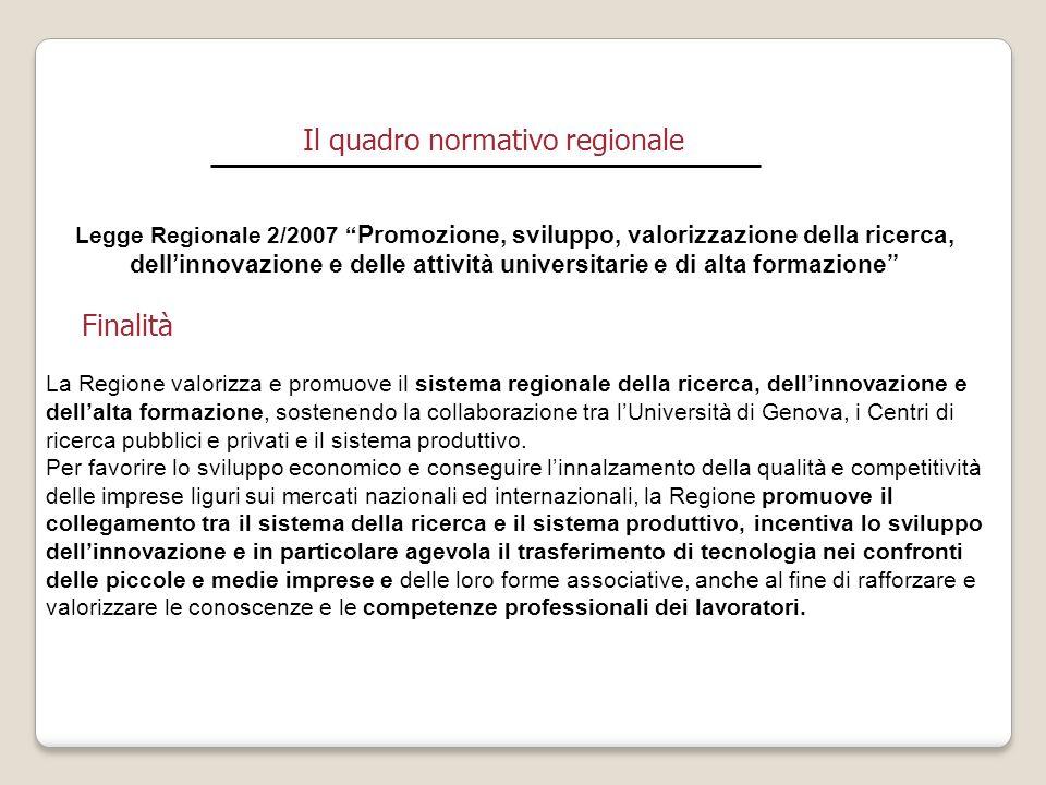 """Il quadro normativo regionale Legge Regionale 2/2007 """" Promozione, sviluppo, valorizzazione della ricerca, dell'innovazione e delle attività universit"""
