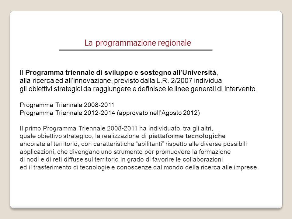 La programmazione regionale Il Programma triennale di sviluppo e sostegno all'Università, alla ricerca ed all'innovazione, previsto dalla L.R. 2/2007