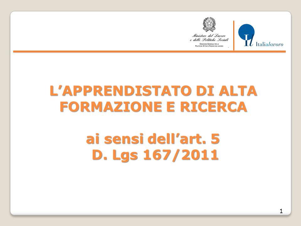 L'APPRENDISTATO DI ALTA FORMAZIONE E RICERCA ai sensi dell'art. 5 D. Lgs 167/2011 1