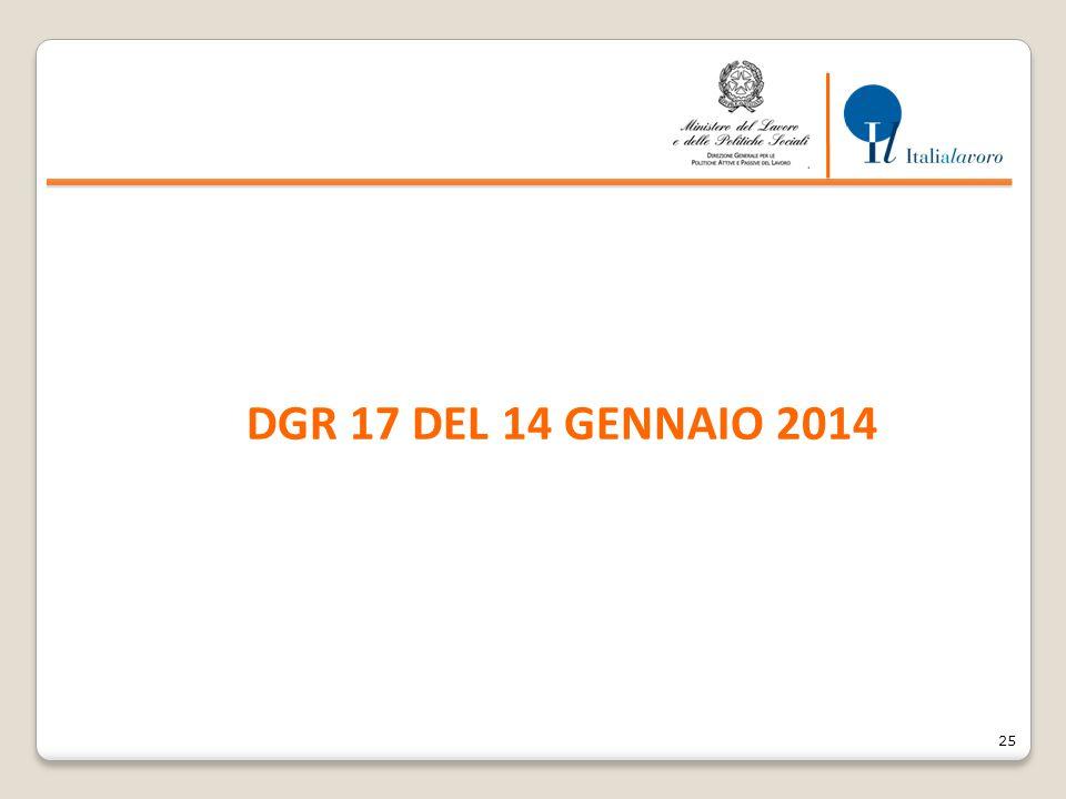 25 DGR 17 DEL 14 GENNAIO 2014
