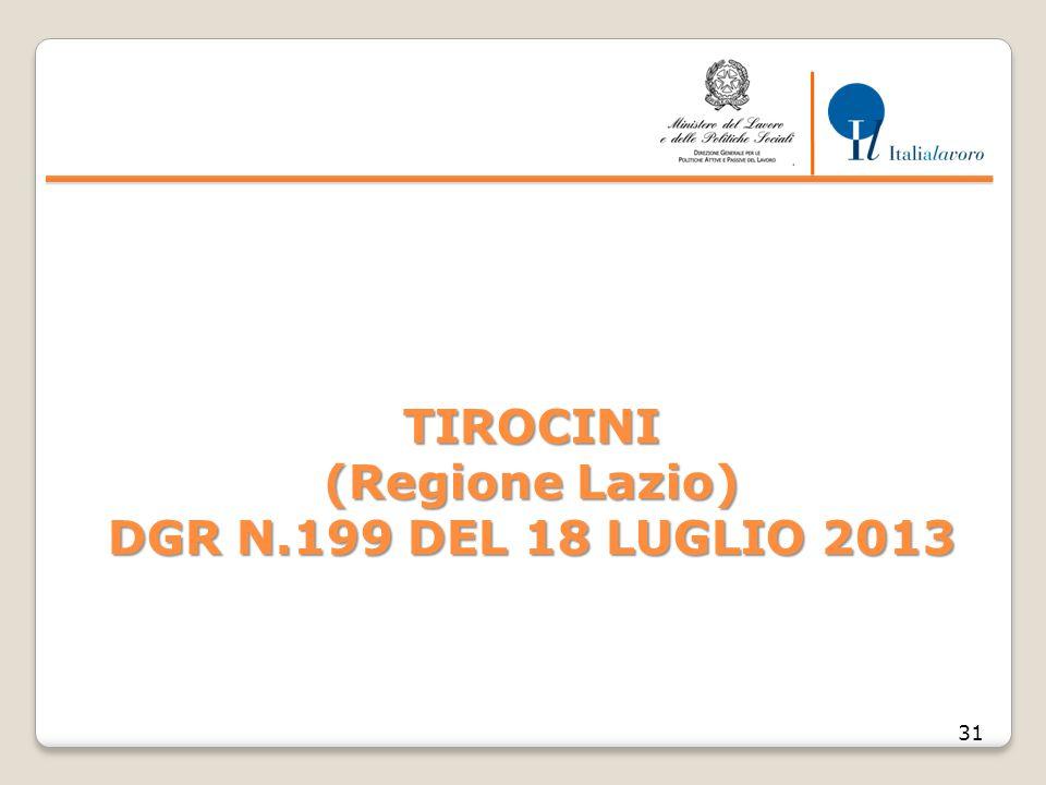 TIROCINI (Regione Lazio) DGR N.199 DEL 18 LUGLIO 2013 31