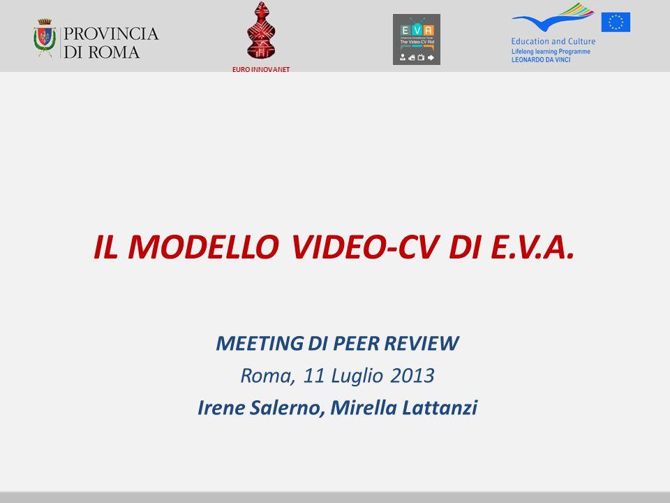 IL MODELLO VIDEO-CV DI E.V.A. MEETING DI PEER REVIEW Roma, 11 Luglio 2013 Irene Salerno, Mirella Lattanzi EURO INNOVANET