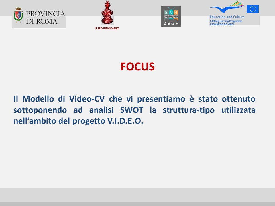 FOCUS Il Modello di Video-CV che vi presentiamo è stato ottenuto sottoponendo ad analisi SWOT la struttura-tipo utilizzata nell'ambito del progetto V.