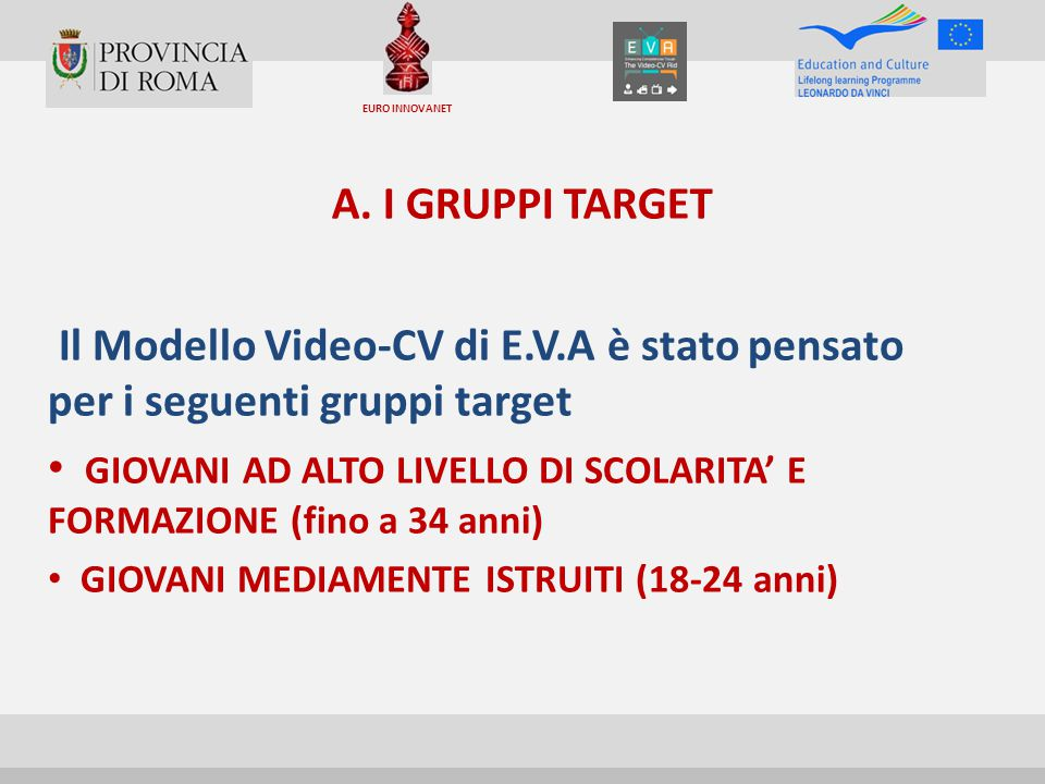 A. I GRUPPI TARGET Il Modello Video-CV di E.V.A è stato pensato per i seguenti gruppi target GIOVANI AD ALTO LIVELLO DI SCOLARITA' E FORMAZIONE (fino