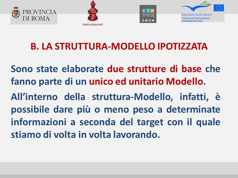 B. LA STRUTTURA-MODELLO IPOTIZZATA Sono state elaborate due strutture di base che fanno parte di un unico ed unitario Modello. All'interno della strut