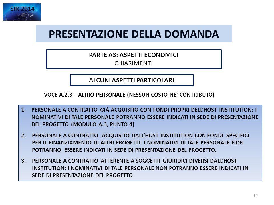 PRESENTAZIONE DELLA DOMANDA SIR 2014 PARTE A3: ASPETTI ECONOMICI CHIARIMENTI 14 ALCUNI ASPETTI PARTICOLARI VOCE A.2.3 – ALTRO PERSONALE (NESSUN COSTO