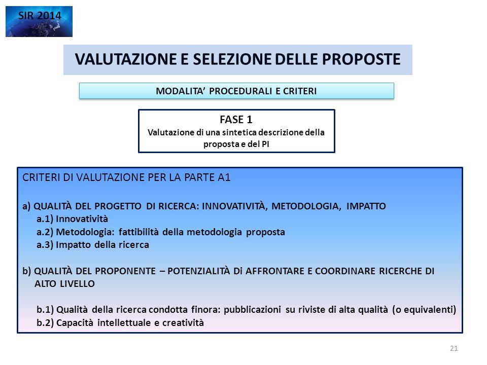 VALUTAZIONE E SELEZIONE DELLE PROPOSTE SIR 2014 FASE 1 Valutazione di una sintetica descrizione della proposta e del PI MODALITA' PROCEDURALI E CRITER