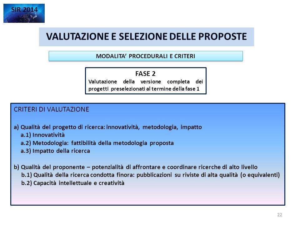 VALUTAZIONE E SELEZIONE DELLE PROPOSTE SIR 2014 FASE 2 Valutazione della versione completa dei progetti preselezionati al termine della fase 1 MODALIT