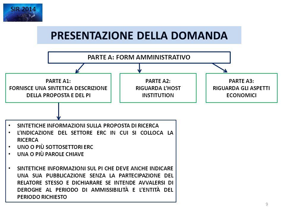 PRESENTAZIONE DELLA DOMANDA SIR 2014 PARTE A3: ASPETTI ECONOMICI CHIARIMENTI 10 TABELLA RIASSUNTIVA