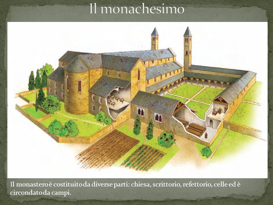Il monastero è costituito da diverse parti: chiesa, scrittorio, refettorio, celle ed è circondato da campi.