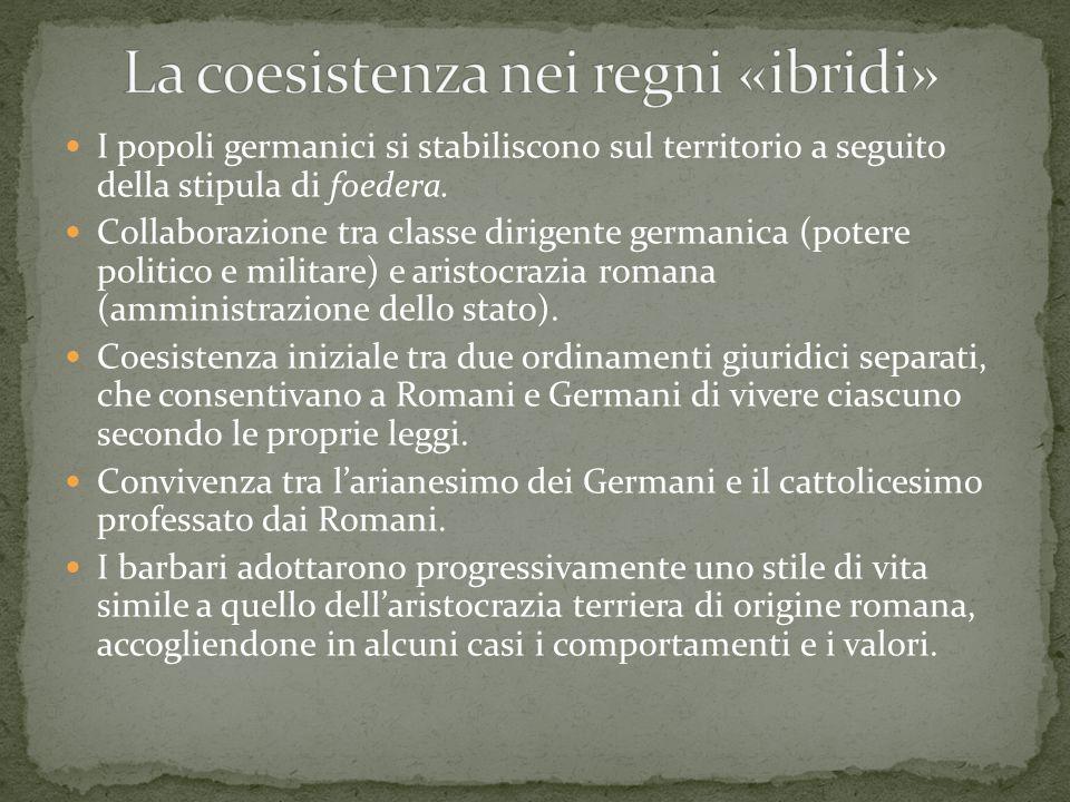 I popoli germanici si stabiliscono sul territorio a seguito della stipula di foedera. Collaborazione tra classe dirigente germanica (potere politico e