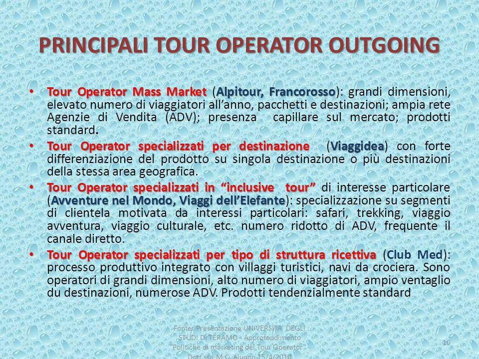 PRINCIPALI TOUR OPERATOR OUTGOING Tour Operator Mass Market Alpitour, Francorosso Tour Operator Mass Market (Alpitour, Francorosso): grandi dimensioni