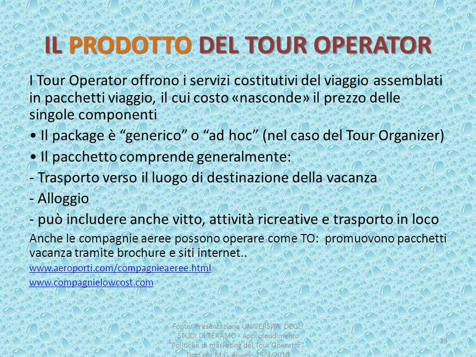 IL PRODOTTO DEL TOUR OPERATOR I Tour Operator offrono i servizi costitutivi del viaggio assemblati in pacchetti viaggio, il cui costo «nasconde» il pr