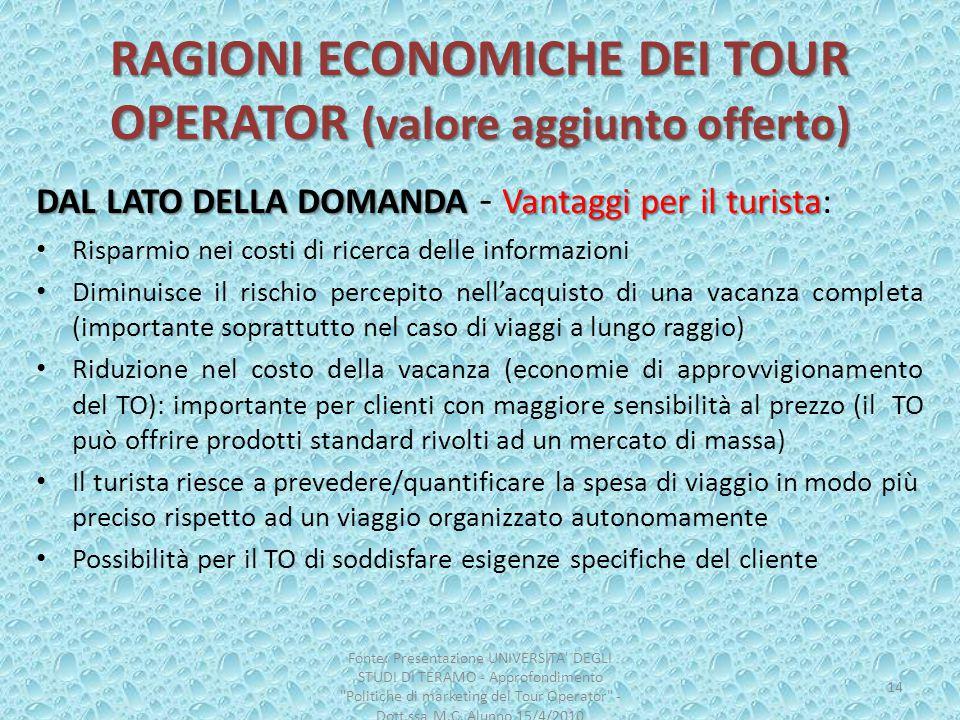 RAGIONI ECONOMICHE DEI TOUR OPERATOR (valore aggiunto offerto) DAL LATO DELLA DOMANDA Vantaggi per il turista DAL LATO DELLA DOMANDA - Vantaggi per il