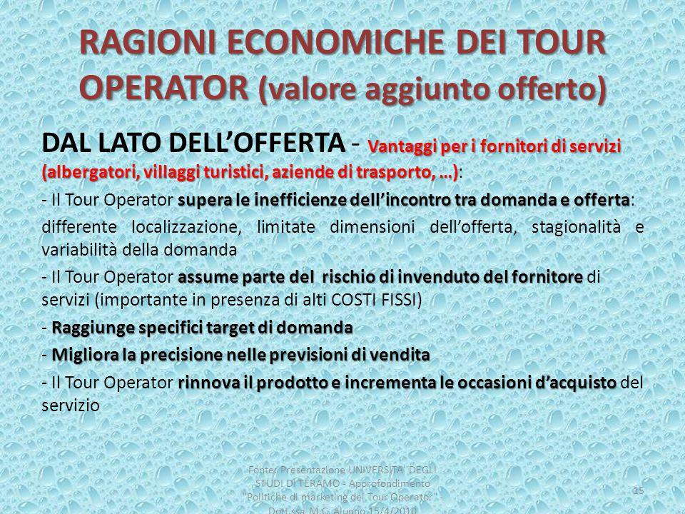 RAGIONI ECONOMICHE DEI TOUR OPERATOR (valore aggiunto offerto) Vantaggi per i fornitori di servizi (albergatori, villaggi turistici, aziende di traspo