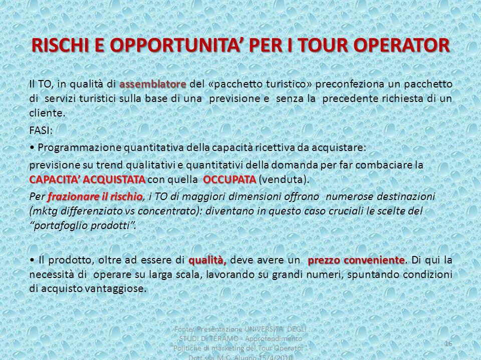RISCHI E OPPORTUNITA' PER I TOUR OPERATOR assemblatore Il TO, in qualità di assemblatore del «pacchetto turistico» preconfeziona un pacchetto di servi