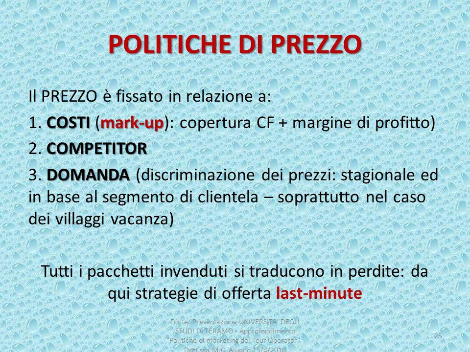 POLITICHE DI PREZZO Il PREZZO è fissato in relazione a: COSTImark-up 1. COSTI (mark-up): copertura CF + margine di profitto) COMPETITOR 2. COMPETITOR