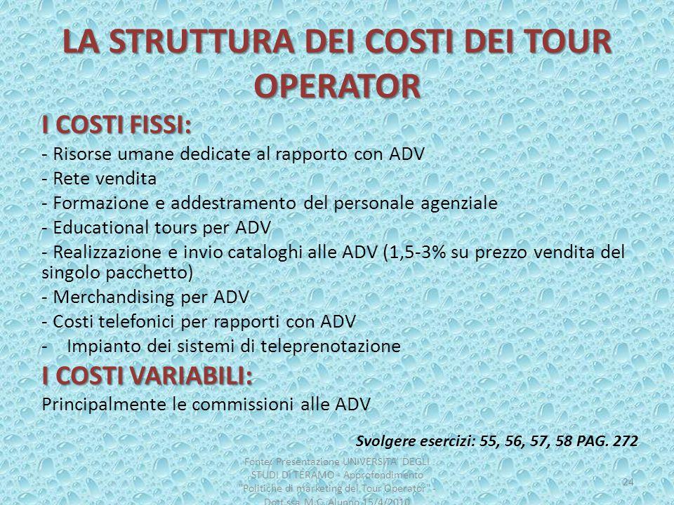 LA STRUTTURA DEI COSTI DEI TOUR OPERATOR I COSTI FISSI: - Risorse umane dedicate al rapporto con ADV - Rete vendita - Formazione e addestramento del p