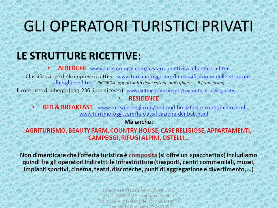GLI OPERATORI TURISTICI PRIVATI LE STRUTTURE RICETTIVE: ALBERGHI www.turismo-oggi.com/avviare-unattivita-alberghiera.html www.turismo-oggi.com/avviare