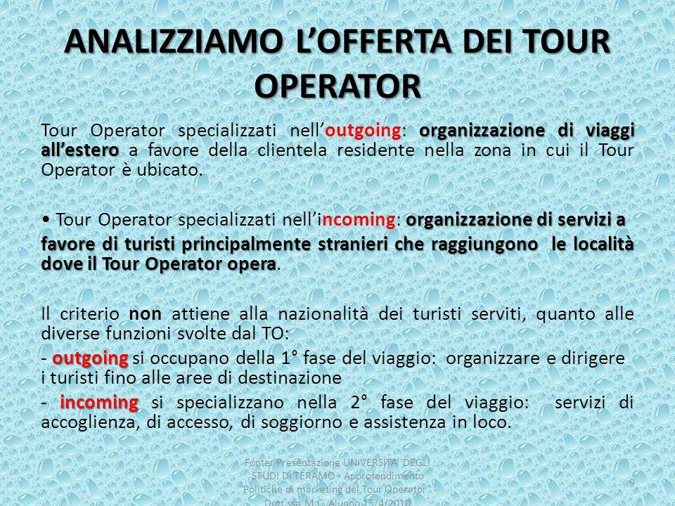 ANALIZZIAMO L'OFFERTA DEI TOUR OPERATOR organizzazione di viaggi all'estero Tour Operator specializzati nell'outgoing: organizzazione di viaggi all'es