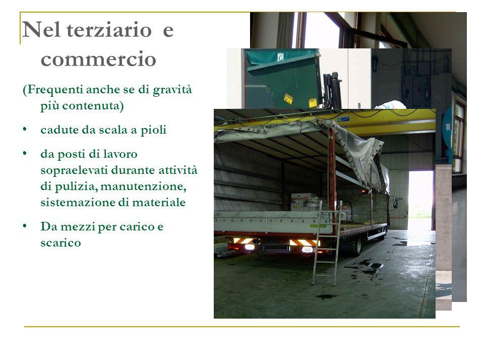 Nel terziario e commercio (Frequenti anche se di gravità più contenuta) cadute da scala a pioli da posti di lavoro sopraelevati durante attività di pulizia, manutenzione, sistemazione di materiale Da mezzi per carico e scarico