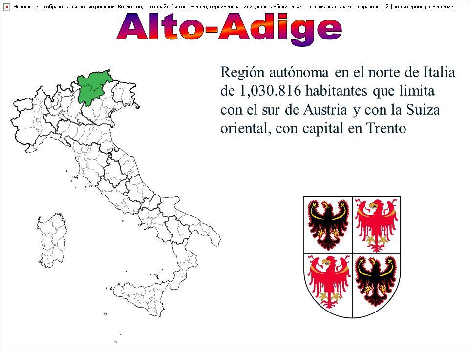 Región autónoma en el norte de Italia de 1,030.816 habitantes que limita con el sur de Austria y con la Suiza oriental, con capital en Trento