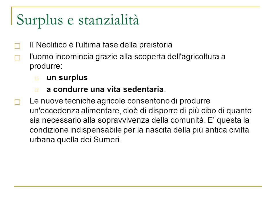 Surplus e stanzialità  Il Neolitico è l'ultima fase della preistoria  l'uomo incomincia grazie alla scoperta dell'agricoltura a produrre: □ un surpl