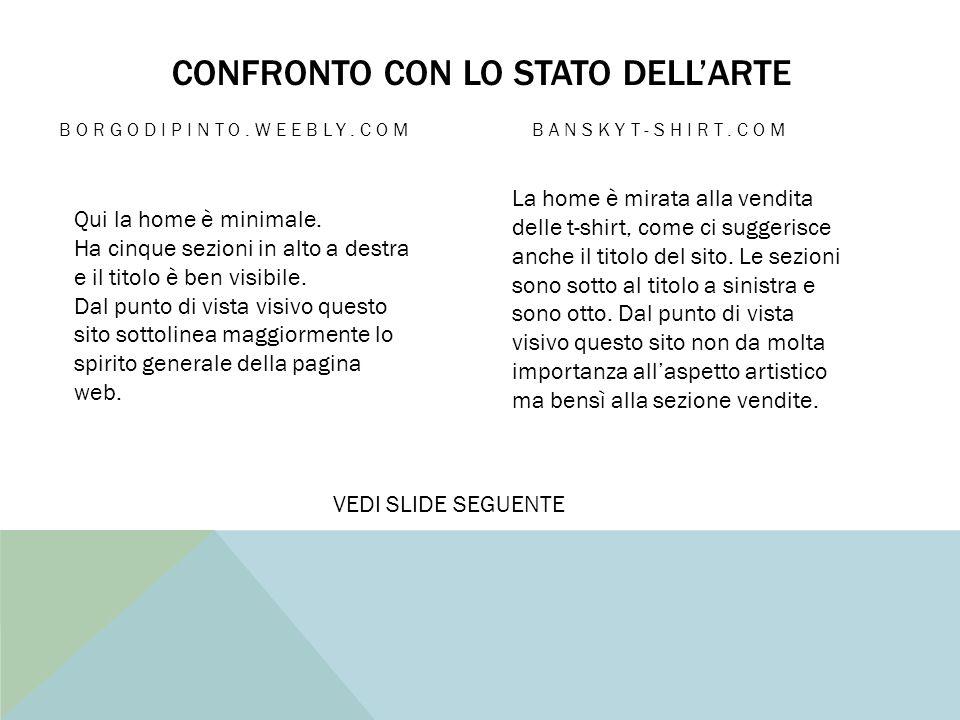 CONFRONTO CON LO STATO DELL'ARTE BORGODIPINTO.WEEBLY.COM BANSKYT-SHIRT.COM Qui la home è minimale.