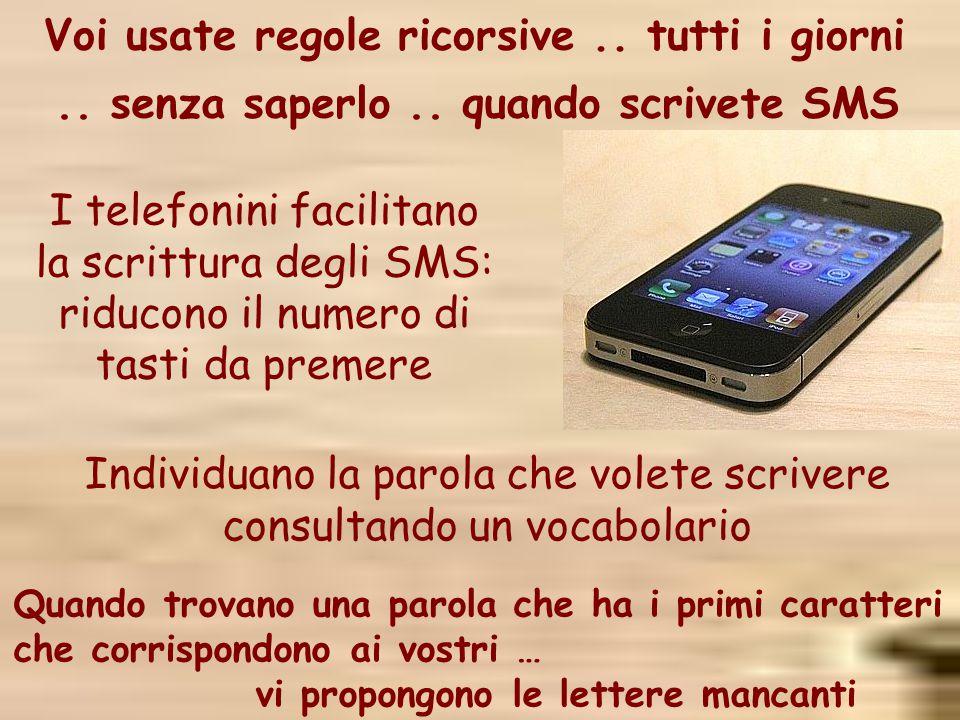 I telefonini facilitano la scrittura degli SMS: riducono il numero di tasti da premere Individuano la parola che volete scrivere consultando un vocabolario Voi usate regole ricorsive..