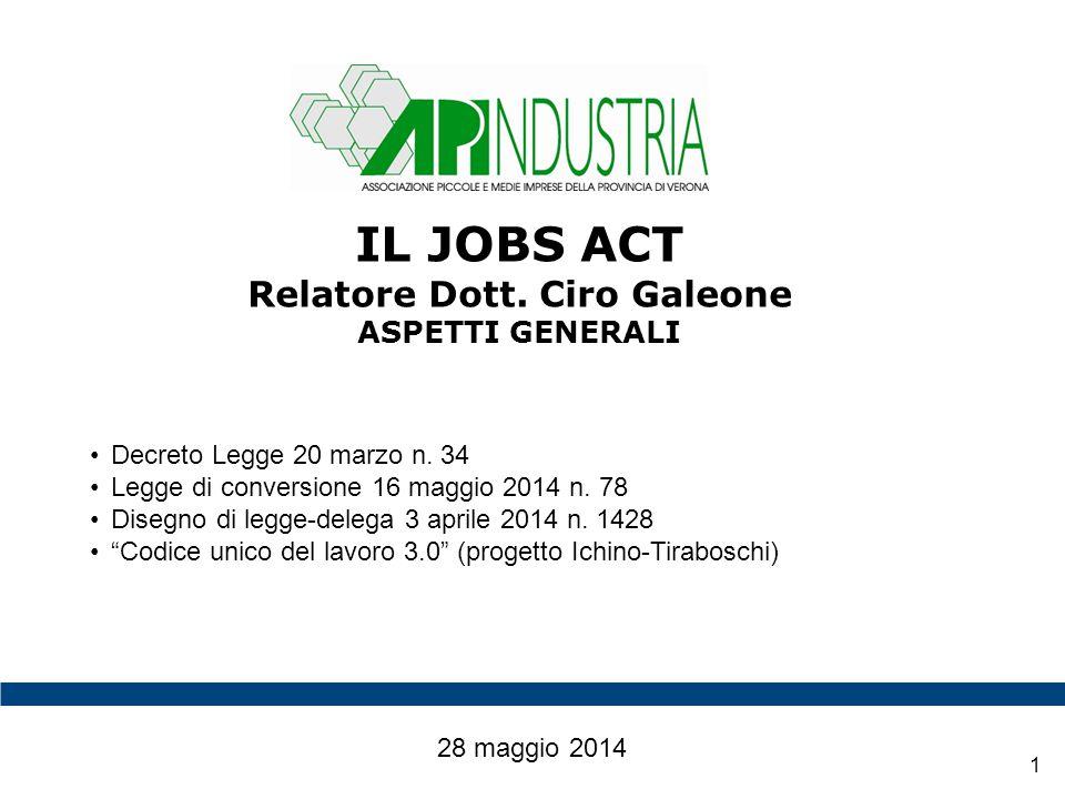 2 IL JOBS ACT REGIME TRANSITORIO 28 maggio 2014 Il Decreto Legge 20 marzo n.