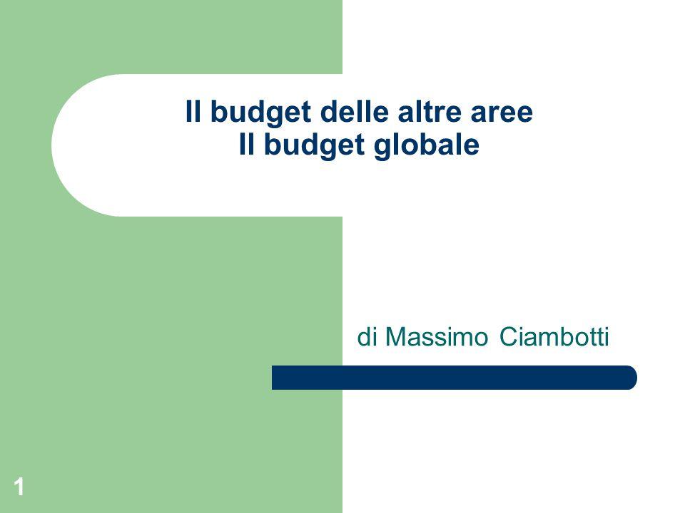 1 Il budget delle altre aree Il budget globale di Massimo Ciambotti