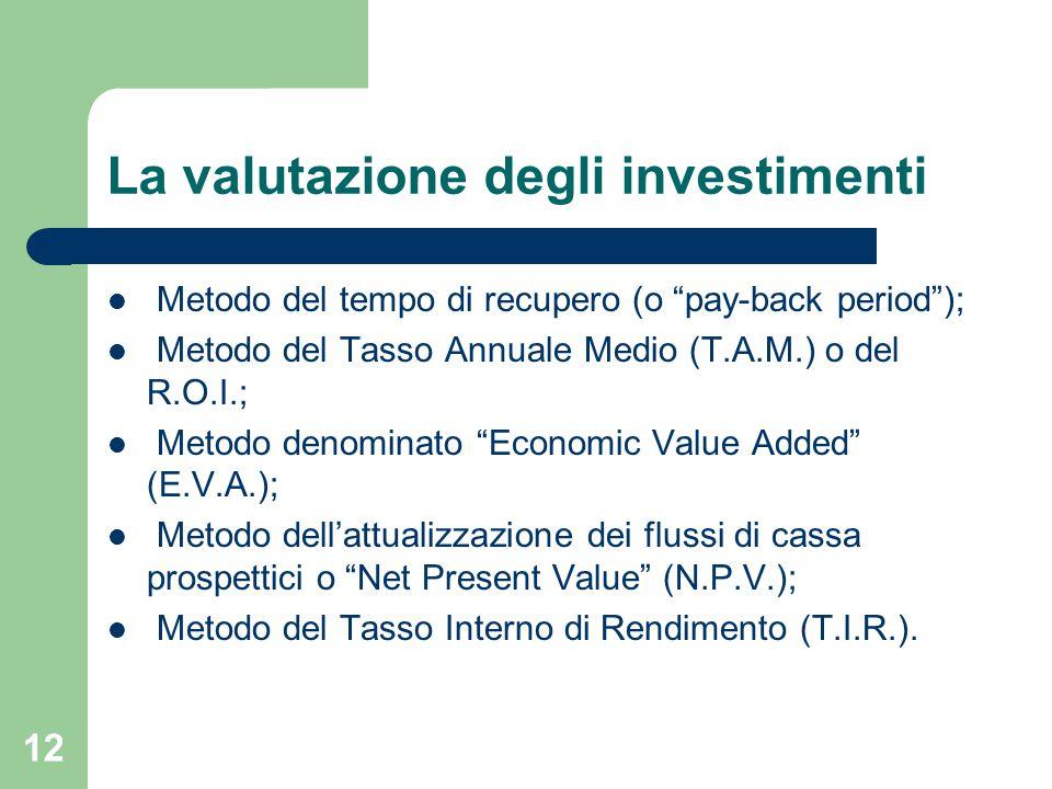 12 La valutazione degli investimenti Metodo del tempo di recupero (o pay-back period ); Metodo del Tasso Annuale Medio (T.A.M.) o del R.O.I.; Metodo denominato Economic Value Added (E.V.A.); Metodo dell'attualizzazione dei flussi di cassa prospettici o Net Present Value (N.P.V.); Metodo del Tasso Interno di Rendimento (T.I.R.).