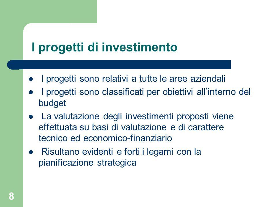 8 I progetti di investimento I progetti sono relativi a tutte le aree aziendali I progetti sono classificati per obiettivi all'interno del budget La valutazione degli investimenti proposti viene effettuata su basi di valutazione e di carattere tecnico ed economico-finanziario Risultano evidenti e forti i legami con la pianificazione strategica