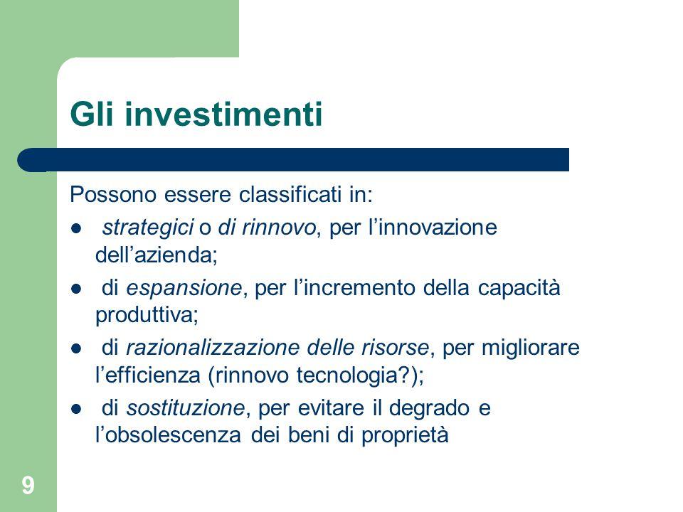 9 Gli investimenti Possono essere classificati in: strategici o di rinnovo, per l'innovazione dell'azienda; di espansione, per l'incremento della capacità produttiva; di razionalizzazione delle risorse, per migliorare l'efficienza (rinnovo tecnologia?); di sostituzione, per evitare il degrado e l'obsolescenza dei beni di proprietà