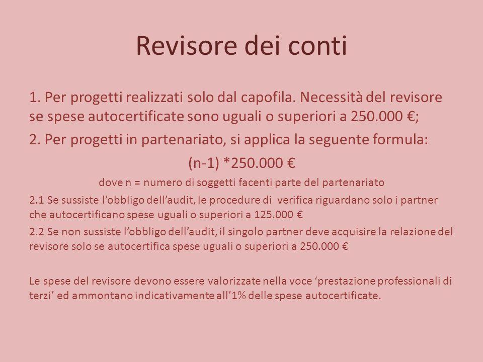 Revisore dei conti 1. Per progetti realizzati solo dal capofila. Necessità del revisore se spese autocertificate sono uguali o superiori a 250.000 €;