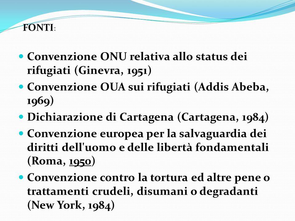 Convenzione ONU relativa allo status dei rifugiati (Ginevra, 1951) Convenzione OUA sui rifugiati (Addis Abeba, 1969) Dichiarazione di Cartagena (Carta