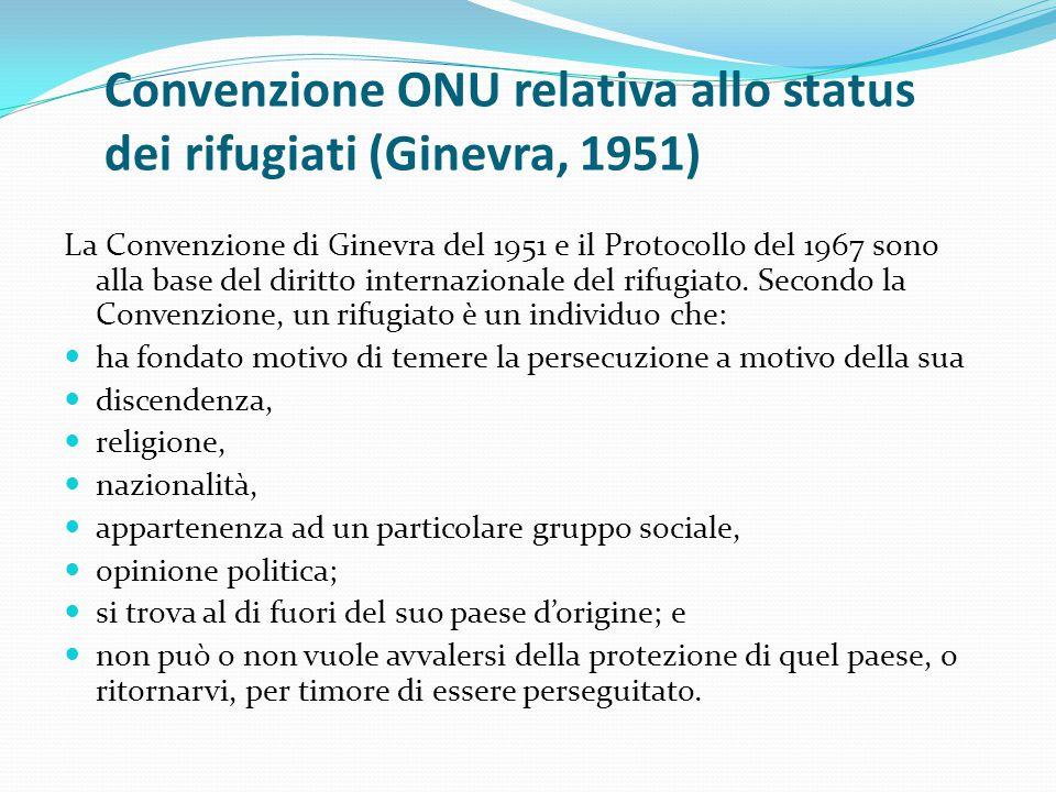 Convenzione ONU relativa allo status dei rifugiati (Ginevra, 1951) La Convenzione di Ginevra del 1951 e il Protocollo del 1967 sono alla base del diri