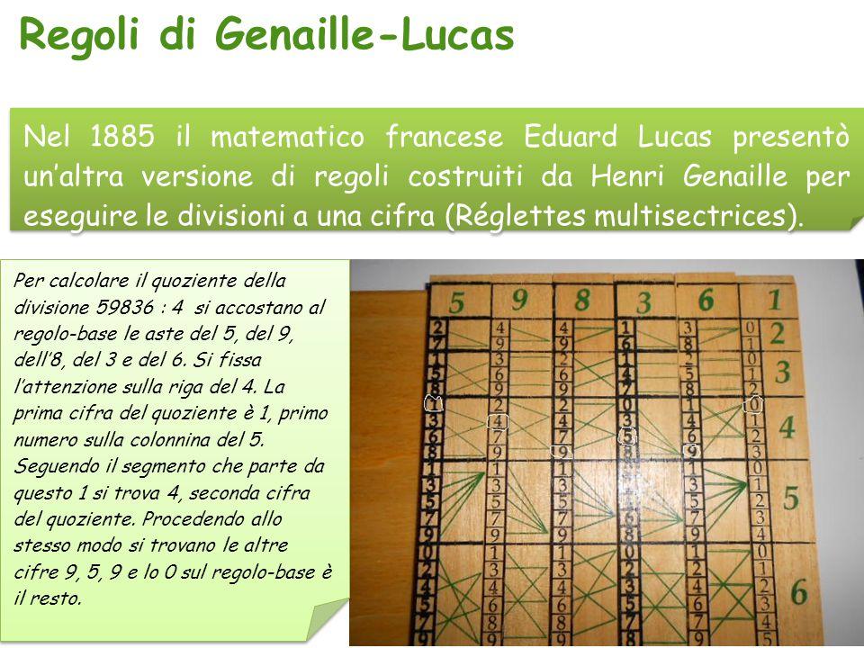 Nel 1885 il matematico francese Eduard Lucas presentò un'altra versione di regoli costruiti da Henri Genaille per eseguire le divisioni a una cifra (R